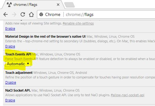 Chrome flags screen